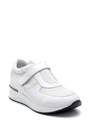Derimod Kadın Bantlı Deri Ayakkabı Beyaz